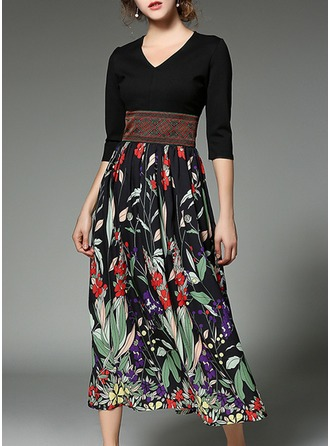 Chiffon With Print/Embroidery/Crumple Maxi Dress