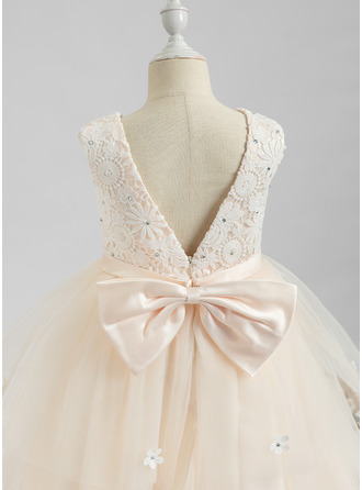 Tea-length Flower Girl Dress - Sleeveless Scalloped Neck With Lace Beading Flower(s)