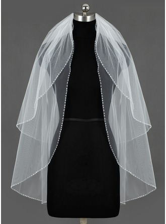 Two-tier Fingertip Bridal Veils With Sequin Trim Edge