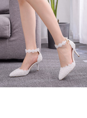 Kids' Leatherette Stiletto Heel Closed Toe Pumps Sandals MaryJane With Imitation Pearl Flower