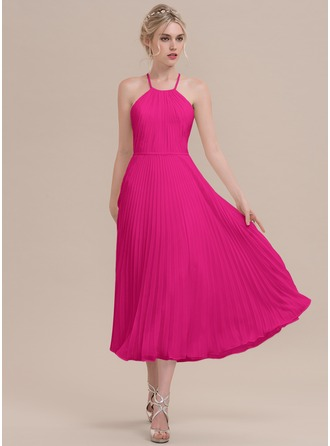 Scoop Neck Tea-Length Chiffon Cocktail Dress With Pleated