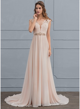Scoop Neck Sweep Train Chiffon Wedding Dress With Beading Bow(s)