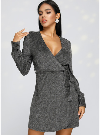 Polyester With Sequins/Button Above Knee Dress