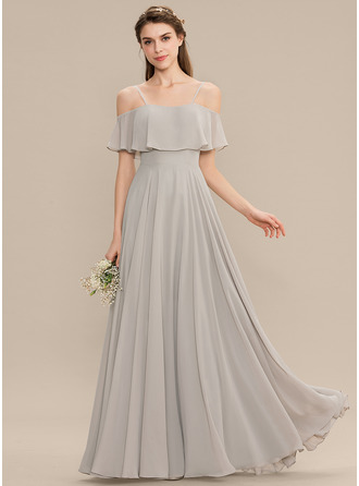 Off-the-Shoulder Floor-Length Chiffon Bridesmaid Dress