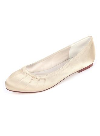 Frauen Seide wie Satin Flascher Absatz Flache Schuhe mit Rüschen