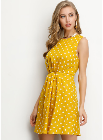 Polyester With Crumple/PolkaDot Above Knee Dress