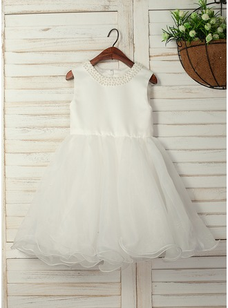 A-Line/Princess Knee-length Flower Girl Dress - Organza Satin Sleeveless Scoop Neck With Beading