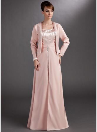A-Line/Princess Sweetheart Floor-Length Charmeuse Mother of the Bride Dress With Beading