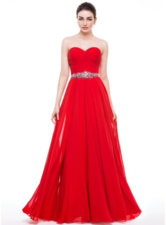 A-Line Sweetheart Floor-Length Chiffon Prom Dresses With Ruffle Beading Sequins