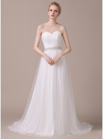 A-Line/Princess Sweetheart Court Train Tulle Wedding Dress With Ruffle Beading Sequins