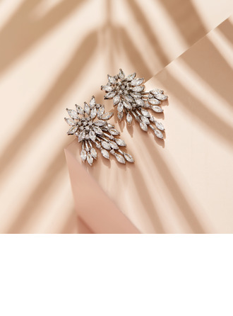 Non-personalized Ladies' Beautiful Rhinestones/Copper Earrings For Her