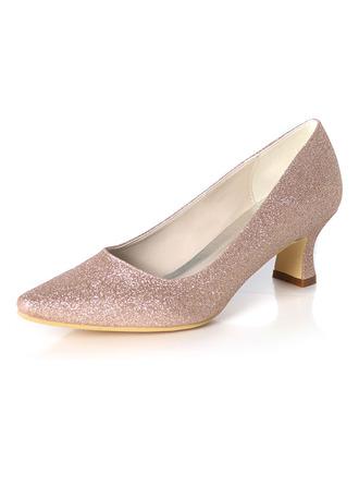Women's Sparkling Glitter Chunky Heel Pumps
