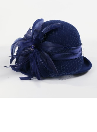 Ladies' Glamourous Wool/Net Yarn With Feather Bowler/Cloche Hats/Kentucky Derby Hats