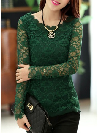 Lace Long Sleeves Lace Round Neck Casual Blouses Blouses