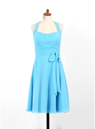 A-Line/Princess Halter Knee-Length Chiffon Junior Bridesmaid Dress With Ruffle Bow(s)
