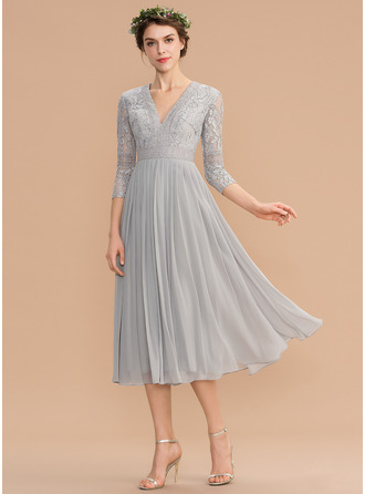 A-Line V-neck Tea-Length Chiffon Lace Cocktail Dress With Pleated