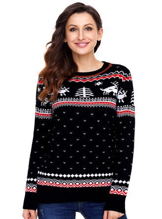 Graphic Acrylic Round Neck Sweater Kazak