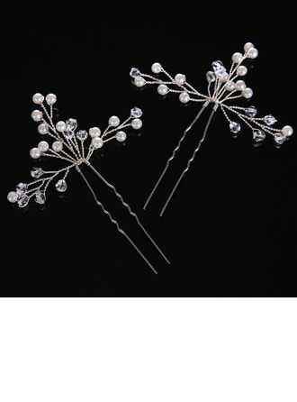 Ladies Elegant Crystal/Imitation Pearls Hairpins (Set of 2)