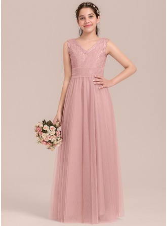 V-neck Floor-Length Tulle Junior Bridesmaid Dress