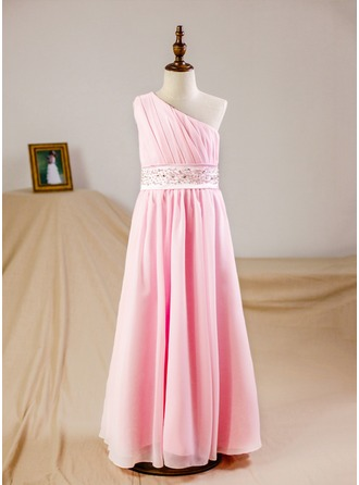 A-Line/Princess Floor-length Flower Girl Dress - Chiffon Sleeveless One-Shoulder With Ruffles Beading Sequins