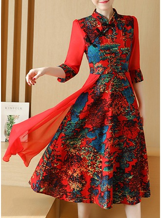 Polyester/Chiffon With Print Midi Dress