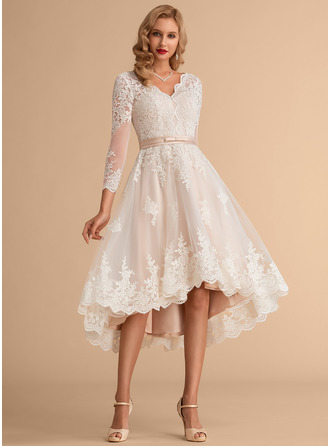 V-neck Asymmetrical Satin Tulle Lace Wedding Dress
