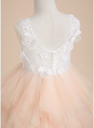 Ball-Gown/Princess Knee-length Flower Girl Dress - Tulle Lace Sleeveless Scoop Neck With Beading Flower(s)