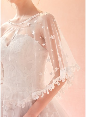 Lace Tulle Rhinestones Wedding Wrap