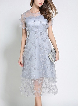 Organza With Mesh/See-through Look Midi Dress