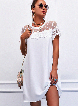 Lace Solid Shift Round Neck Short Sleeves Midi Elegant Dresses