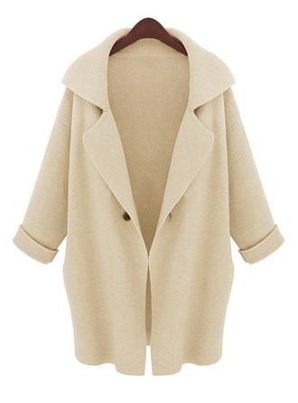 Polyester Long Sleeves Plain Wide-Waisted Coats ()