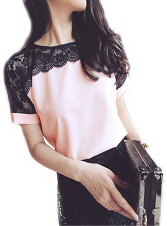 Color Block Short Sleeves Chiffon Lace Round Neck Casual Blouses Bluzlar