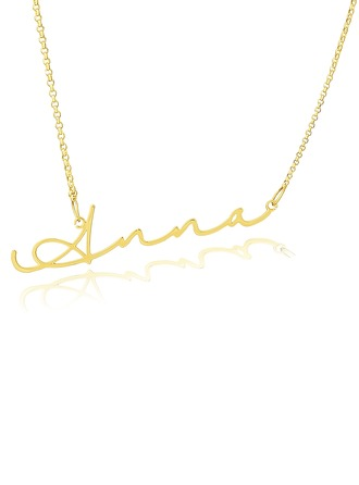 [Free Shipping]Custom 18k Gold Plated Silver Signature Name Necklace - Birthday Gifts Mother's Day Gifts (288211273)