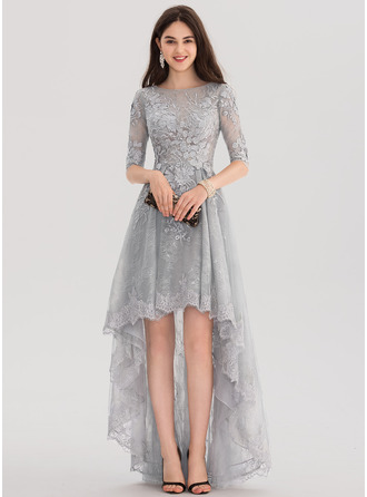 Scoop Neck Asymmetrical Tulle Lace Evening Dress