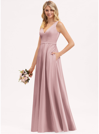 V-Neck Other Colors Satin Dresses