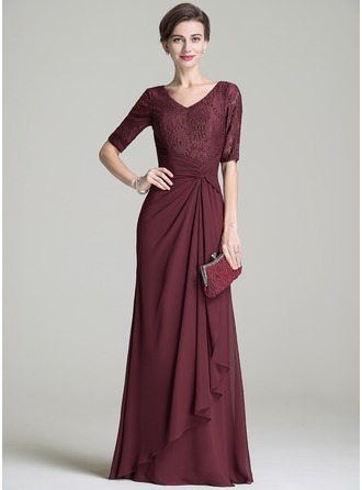 V-neck Floor-Length Chiffon Lace Mother of the Bride Dress With Ruffle Cascading Ruffles
