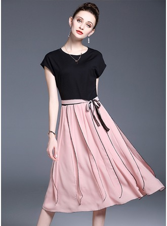 Chiffon With Bowknot/Stitching/Crumple/Ruffles Midi Dress