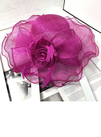 Ladies' Eye-catching Cambric With Feather/Silk Flower Floppy Hat