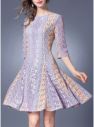 Lace With Lace/Embroidery/Hollow Above Knee Dress
