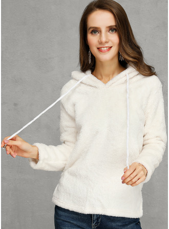 Solid Hooded Pullovers Sweaters