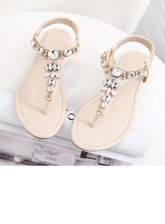 Femmes Similicuir Talon plat À bout ouvert Sandales Escarpins Beach Wedding Shoes avec Strass