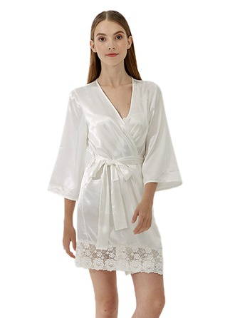 Bride Bridesmaid Satin Lace With Short Satin Robes Satin & Lace Robes