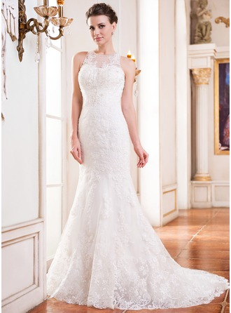 Trumpet/Mermaid Scoop Neck Court Train Lace Wedding Dress With Beading Sequins