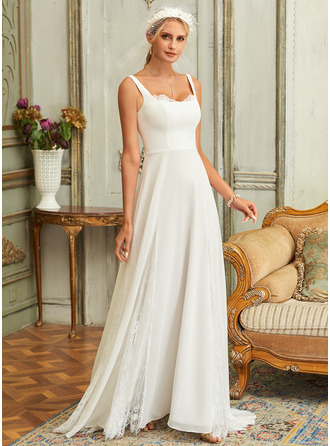 Square Neckline Sweep Train Chiffon Lace Wedding Dress With Lace