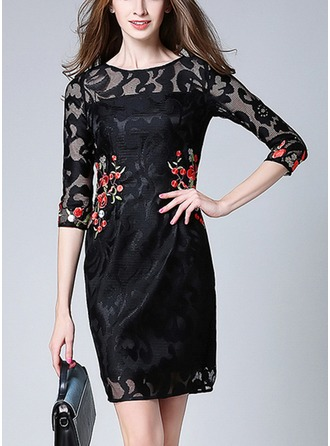 Lace With Lace/Embroidery/Hollow/See-through Look Above Knee Dress