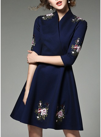 Polyester With Bowknot/Embroidery/Crumple Above Knee Dress