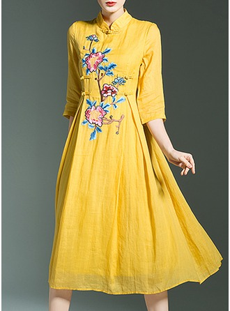 Cotton/Linen With Embroidery Knee Length Dress