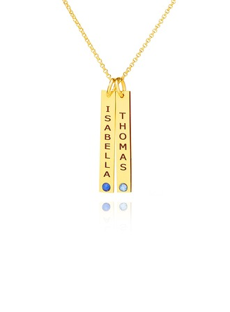 Custom 18k Gold Plated Silver Name Couple Birthstone Necklace Bar Necklace With Birthstone