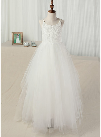 Floor-length Flower Girl Dress - Tulle Lace Sleeveless Straps