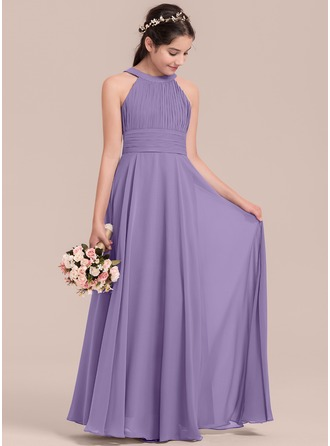 A-Line/Princess Scoop Neck Floor-Length Chiffon Junior Bridesmaid Dress With Ruffle